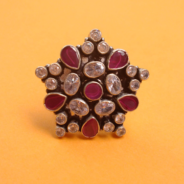 Puran real silver cutstone shining star ring for l...
