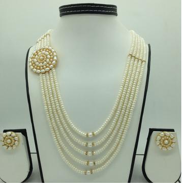 Pearls BroochSet With 5Lines FlatPearls Mala JP...