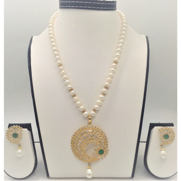 White polki,greencz and pearls pendentset with 1line roundpearls mala jps0331