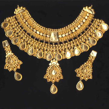 22KT Gold Antique Jaday Necklace Set OLJ-N028