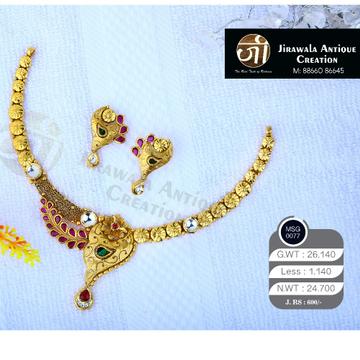 antique jadtar 22ct gold mayurpankh work jadau necklace set