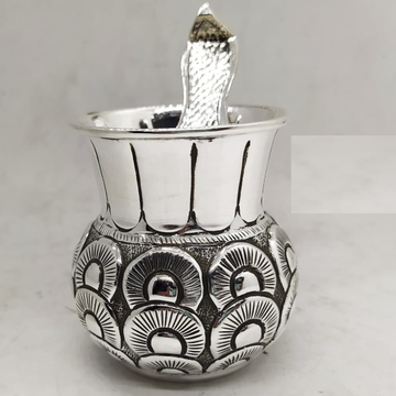 925 Pure Silver Ghee Dani with Spoon and Lid . by Puran Ornaments