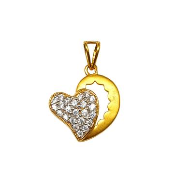 22K Gold Heart Shaped Matte Finish Pendant MGA - PDG1181
