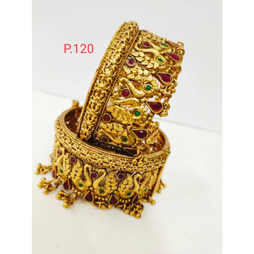 Traditional gold plated peacock nakshi work patla & screw openable kada 1209