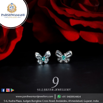 92.5 Sterling Silver Butterfly Design Fancy Earrings for Women