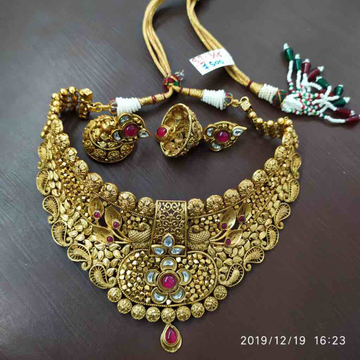 Gold plated necklace set with beautiful design #chk073