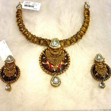 Gold 22k Hallmark Antique Meena Jadtar Necklace Se... by