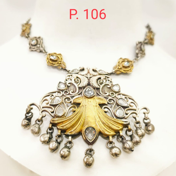 Traditional oxidised silver cobination with gold plated  necklace 1667