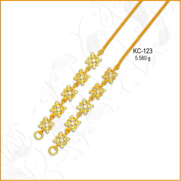 916 Gold Square Design CZ Earchain KC-123