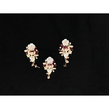 92.5 Sterling Silver Rose Gold Flower Pendant Set Ms-3842