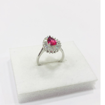 925 sterling silver drop design pink diamond Ring for women