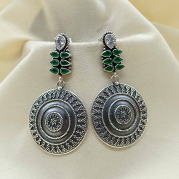 Puran oxidised shield of flowers earrings with gre...