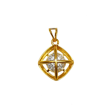 22K Gold Square Shaped Modern Pendant MGA - PDG1159