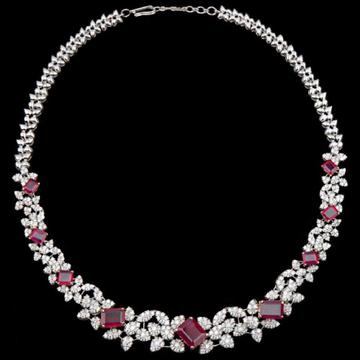 Diamonds and RubyNecklaceJSJ0117