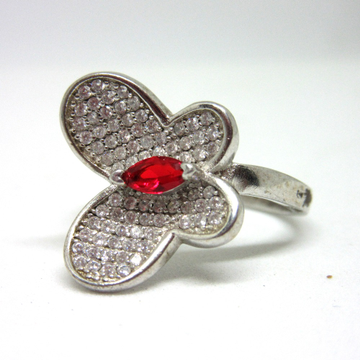 Silver 925 butterfly red diamond ring sr925-30 by