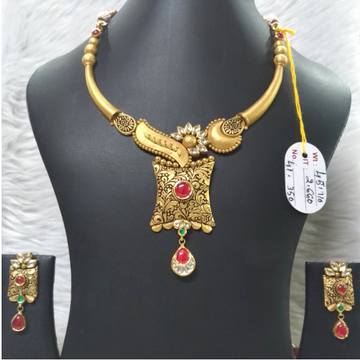 916 Gold Antique Pink Stone Necklace Set