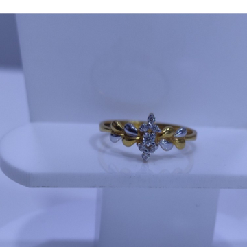 22KT/916 Yellow Gold Stacked Rodiyam Ring For Women