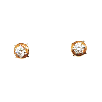 18K Rose Gold Solitaire Diamond Earrings MGA - BTG0008