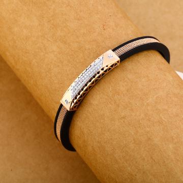 18KT Cz Rose Gold Designer Leather Men's Bracelet MLB259