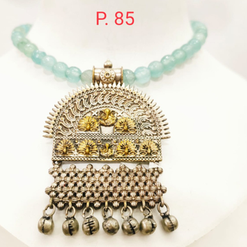 Antique oxidised silver & Gold pated Design with mint pearl string Necklace set 1661