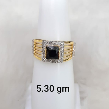 Black stone solitaire gent's ring by