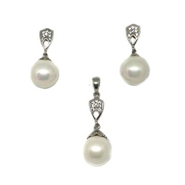 925 Sterling Silver Pearl Pendant Set MGA - PTS0018