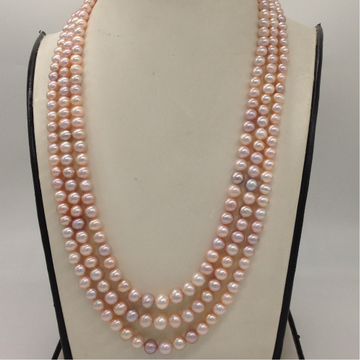 Freshwater Pink Round Graded Pearls 3 Layers Necklace JPM0328