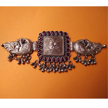 Puran Tribal Silver Peacock Motifs Choker Necklace...