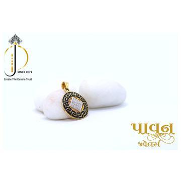 22KT / 916 Gold Fancy Round Black rhodium pendant... by