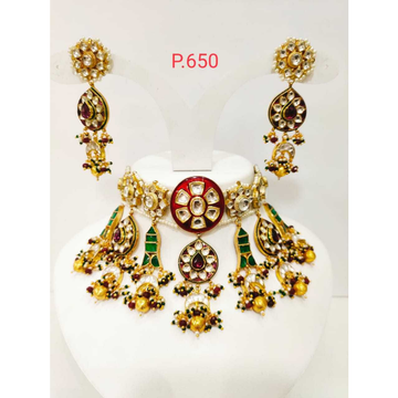 Treditinoal kundan necklace set with pink stone and artificial design 1200