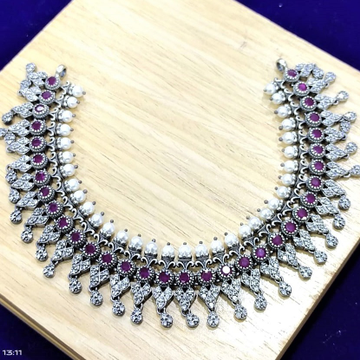 Puran real hallmarked silver necklace in circular...