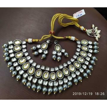 Beautiful Black Plated Kundan Necklace#846
