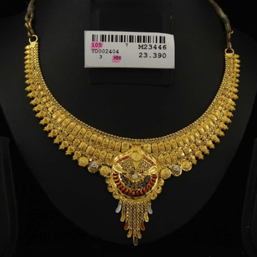 916 Gold Hallmark Necklace Set For Wedding by