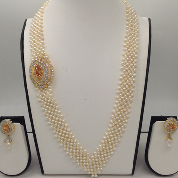 """White And GoldenCZ BroachSet With Seed""""V"""" Jali Pearls Mala JPS0370"""