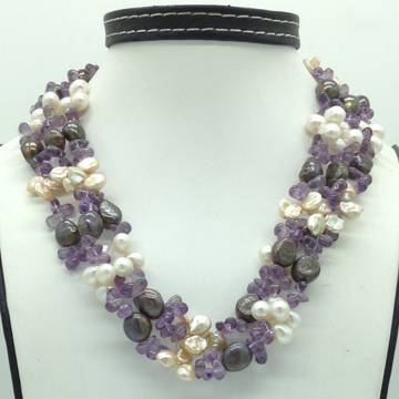 Multicolour KudkalPearls with Amethyst 3 Layers N...