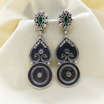 Twinning peacock heart shaped long dangler earring...