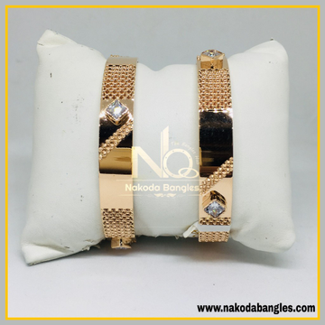 916 Gold Rose Gold Stone Fancy Bangles NB - 450