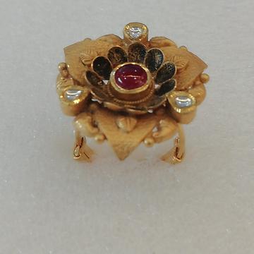 916 gold antique jadtar red stone ladies ring by Vinayak Gold