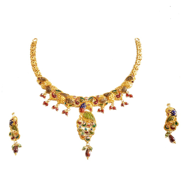 22k Gold Meenakari Peacock Necklace Set MGA - GN065