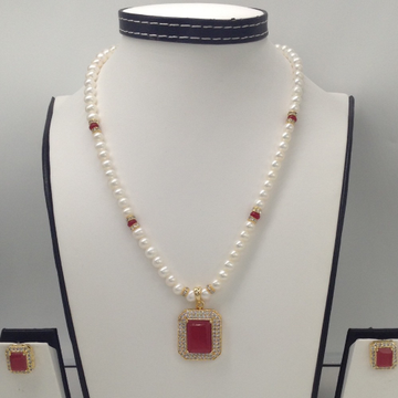 White And Red CZ PendentSet With PotatoPearls Mala JPS0131