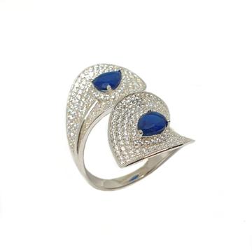 925 Sterling Silver Designer Blue Stone Ring MGA - LRS3512