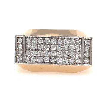 18kt / 750 rose gold fancy diamond gents ring 9gr4...