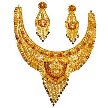 22k gold kulkatti half necklace set mga - gn0035