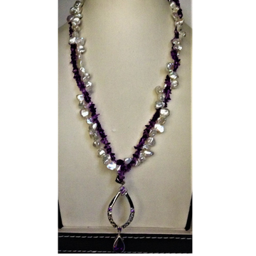 Freshwater white chips baroque pearls and amethyst 2 layers neckalce with pendent