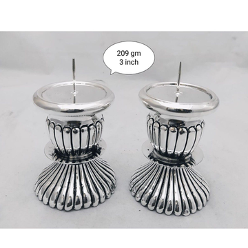 Pure Silver Candle Stand In Antique Nakashii PO-33... by Puran Ornaments