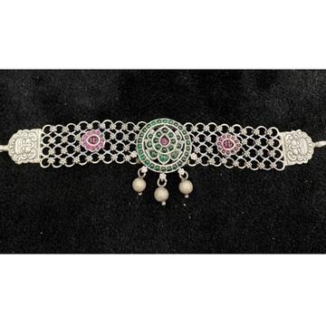 92.5% Pure Silver Compact Temple Choker PO-216-70 by Puran Ornaments