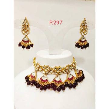 Beautiful Kundan Mini Choker  Set With Red(ruby) Stone & Beads 1221