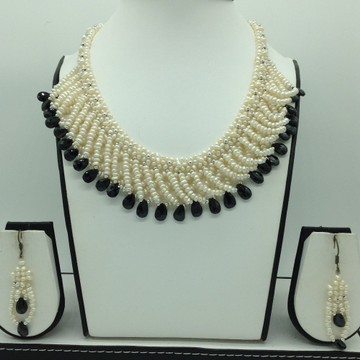 Freshwater White Pearls And Black Drops Jali NecklaceSet JPP1083