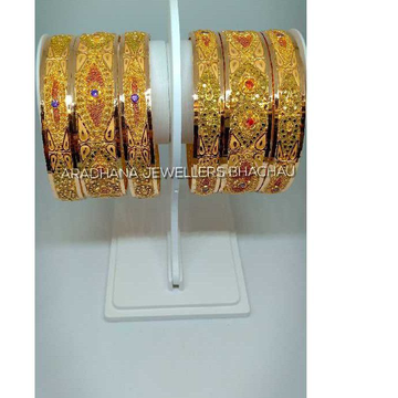 916 Gold 6 Pieces Handwork Bangle Set