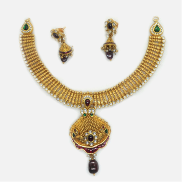 22KT Gold Antique Bridal Necklace Set RHJ-6037